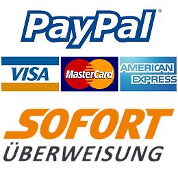 Sicher im Jagdshop zahlen mit PayPal oder Sofortüberweisung